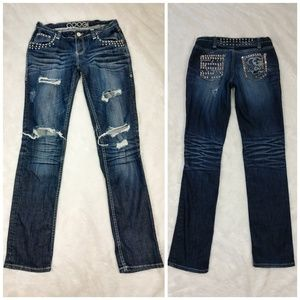 🆕Coogi Studded Distressed Straight Leg Jeans